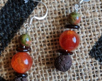 Green Jasper, tiger eye, Jade, and lava bead essential oils diffusing earrings