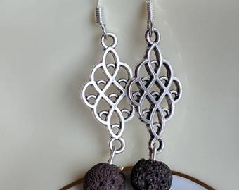 Lovely essential oil diffusing earrings with brown lava and Jade