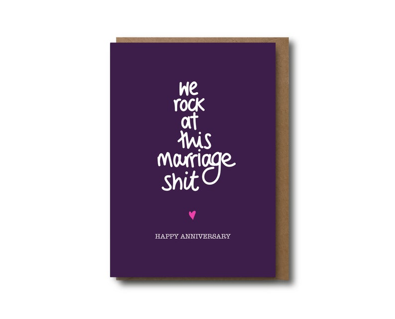 anniversary card funny anniversary we rock at this marriage shit cheeky card for wife husband