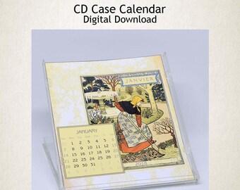Printable CD Case Calendar 2018 Art Nouveau DIY Calendar 2018 digital graphics scrapbook instant download Collage Sheet - ORCAL001