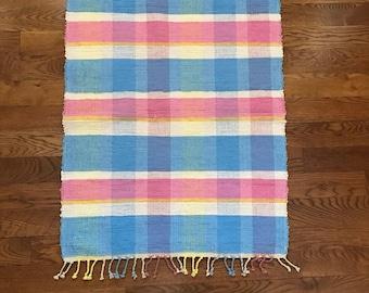 Handwoven Happy Plaid Rag Rug / Handwoven Rag Rug