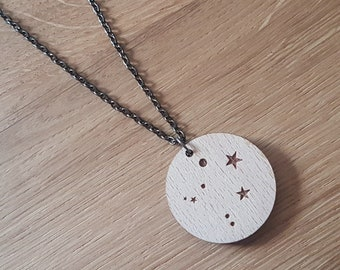 Personalised Wooden Zodiac Necklace, Constellation Necklace, Custom Zodiac Sign, Zodiac Jewelry, Astrology Necklaces, Star Necklace, Libra