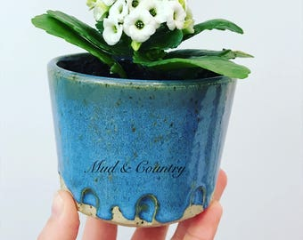 Planter Pot // Succulents // Flowers // Blue // Handmade // Pottery //