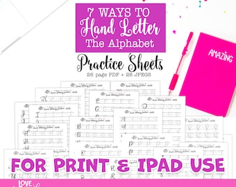 7 Ways to Letter Alphabet Practice Sheets | lettering practice sheets | calligraphy practice | hand lettering practice | beginner lettering
