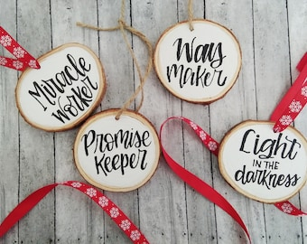 Names of Jesus Ornament Set | Wood Slice ornaments | Scripture Wood Slice Ornaments| Christmas wood slice