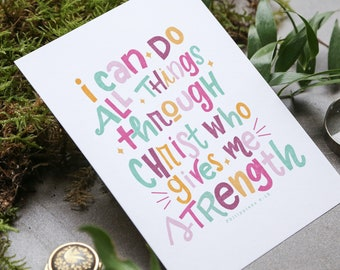 I can do all things through Christ |  Scripture Print | Home Decor | Hand Lettered Print | Digital Scripture