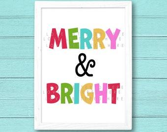 Merry & Bright Printable | Christmas Printable | Christmas Decor | Holiday Print