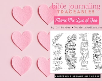 Bible Journaling Traceable: Love of God  Bible Journaling Tools  Bible bookmark  Bible Journaling templates