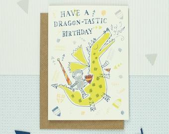 Dragon Birthday Card - Boy Birthday Greeting Card - Fantastic Birthday Card - Adventure - Little Knight