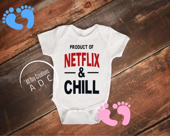 NETFLIX /& CHILL  FUNNY BABY VEST//BODYSUIT//T-SHIRT CHILDRENS//KIDS