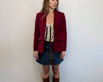 Vintage 1970s Red Velvet Blazer
