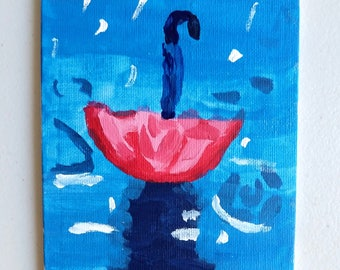 Rainy Day; Acrylic on Canvas; 5x7