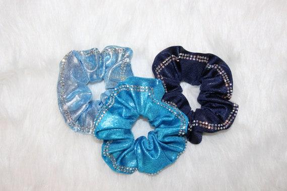 Handmade Hair Scrunchie Tie Turquoise Velvet Made by Lainy!