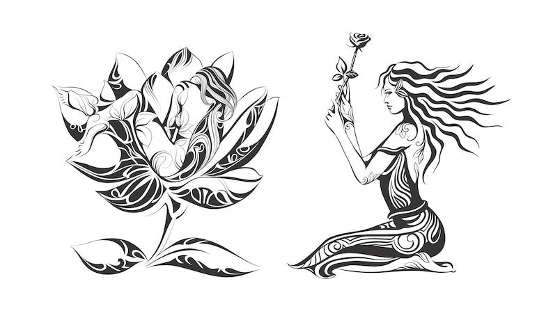 Girl Flower Mandala Zentangletattoosilhouettesvggraphicsillustrationvectorlogodigitalclipart