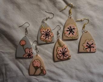 Trio Earring Set~ Polymer Clay Jewelry~ Round Stud Earrings~ Circle Pattern Earrings~ Stripe Earrings~ Gold Polymer Clay Jewelry