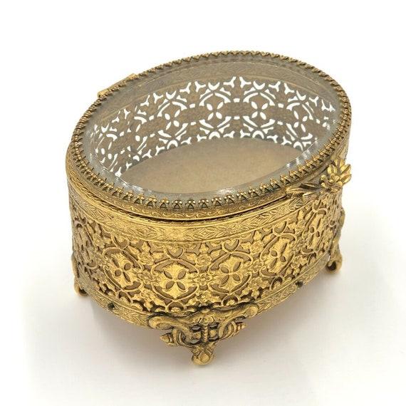 Vintage French Filigree Ormolu Jewelry Box