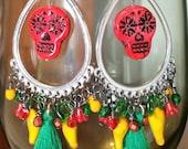 Day of the dead earrings, Dia de los Muertos jewelry, boho gypsy chic, Frida Kahlo , boho hippie, Jalapeno earrings, gypsy earrings