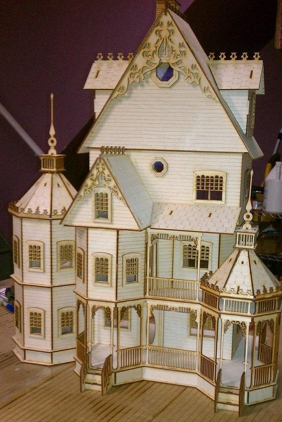 1 24 Scale Wood Gothic Victorian Dollhouse Kit Ashley Series Etsy