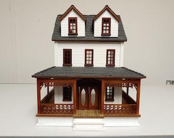 Victorian Dollhouse, Farmhouse Dollhouse, Wood Dollhouse, Cottage Dollhouse Kit 1:48 Scale