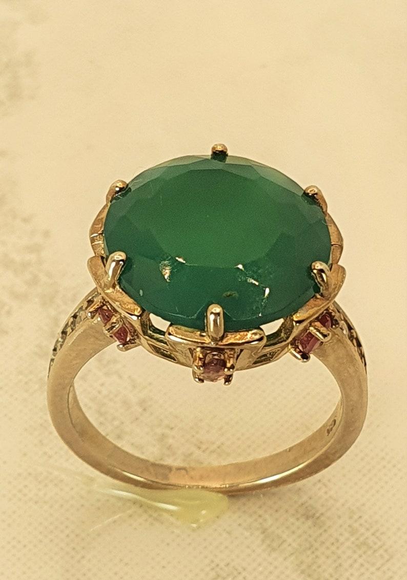 Green Aventurine Pink Tourmaline /& CZ Ring
