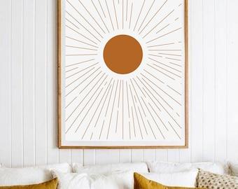 Abstract Sunrise Art Print, Boho Art Print, Mid Century Modern Art, Modern Sunset Wall Art, Framed Artwork. Abstract Orange Print, Large Art