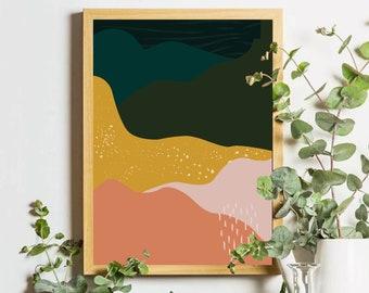 Mid Century Modern Art, Danish Art, Desert Landscape, Boho Decor, Above bed Art, Western Decor, Abstract Wall Art, Modern Wall Art, Gift
