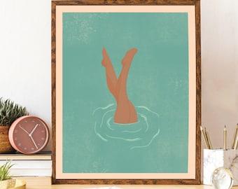 Retro Poster, Brown Skin Girl, Danish Home Decor, Mid Century Modern Art, Boho Decor, Feminist Art, Large Wall Decor Retro, Bathroom Art