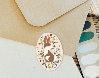 Bunny Sticker, Woodland Animal Stickers, Rabbit Vinyl Stickers, Floral, Cottagecore Stickers, Forestcore, Nature Stickers