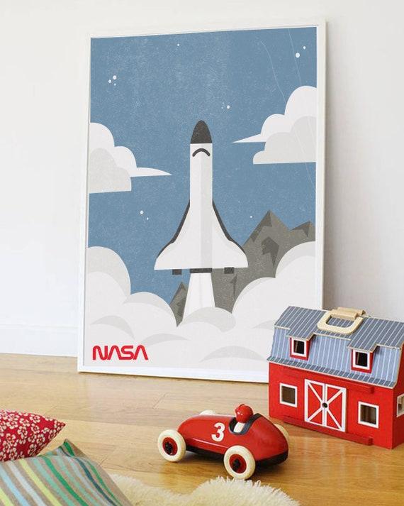Dream Big Space Rocket Children/'s Nursery Bedroom Wall Art Print