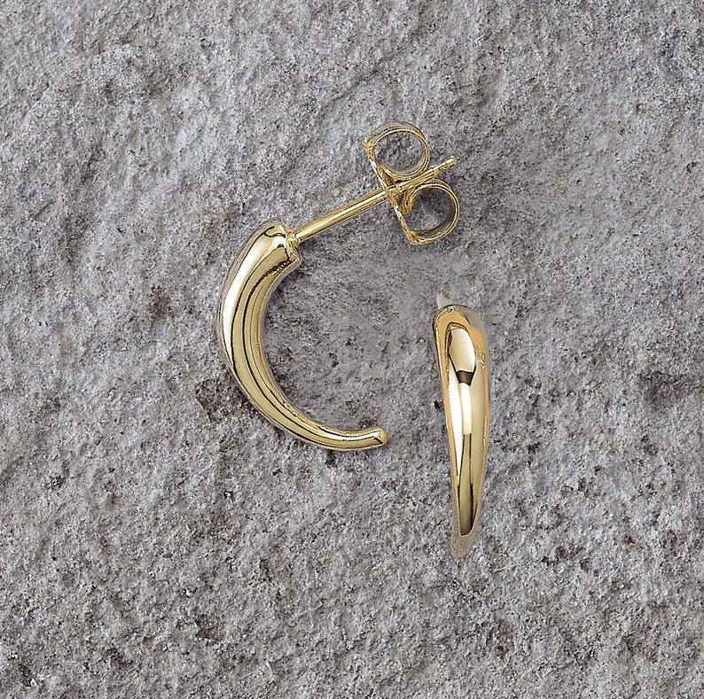 4e19e87b2e270 Geometric J Hoop 14k Solid Gold Earrings Real Gold Gift for | Etsy
