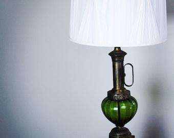 green glass mid century lamp - Mid Century Lamp