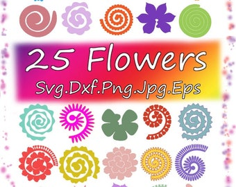 Flowers SVG 25 Flowers Rolled Paper,Rolled, Origami,Paper Flowers