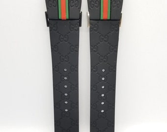 0c1c346330f Black Rubber Strap fits Men s IGucci YA114207 I Gucci Watch 26mm + Screw  Set - NEW