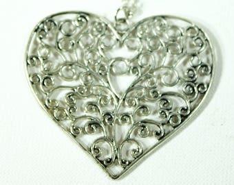 """Large Heart Pendant antique silver 30""""necklace"""