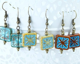 One pair of Square Moroccan tiles earrings, Blue, Yellow or Brick Red? (from Left to Right)