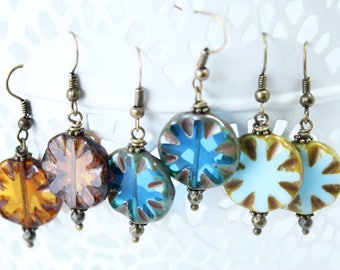 One pair of Moroccan tiles earrings, Amber color, Indigo or Turquoise blue? (from Left to Right)