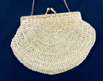 1960s silver crochet evening bag with diamentes on clasp and a chain strap