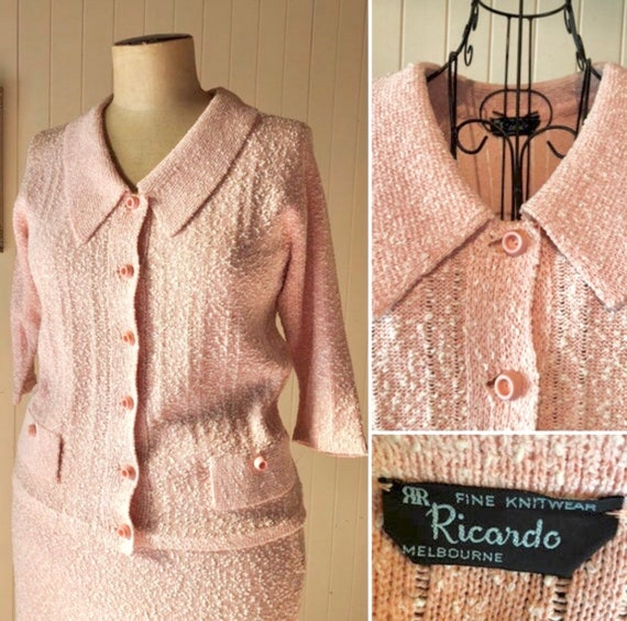 Vintage 1960s pink knit suit, two piece set.  Ladi