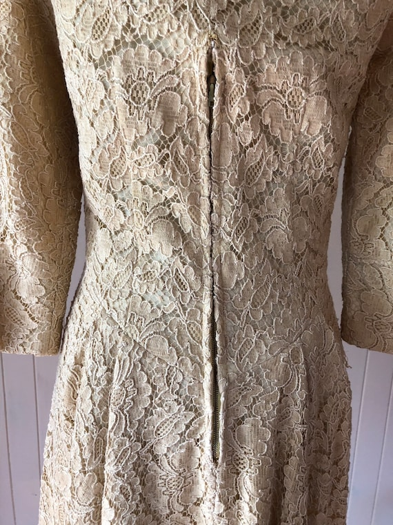 60s Cream lace dress with metal zipper - image 8