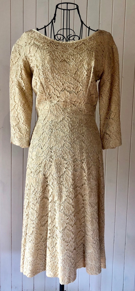 60s Cream lace dress with metal zipper - image 3