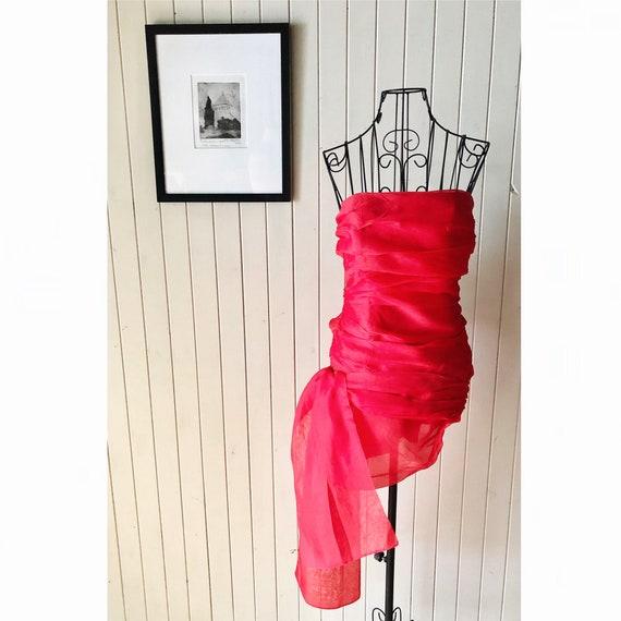 Carla Zampatti silk top, vintage 1980s, red evenin