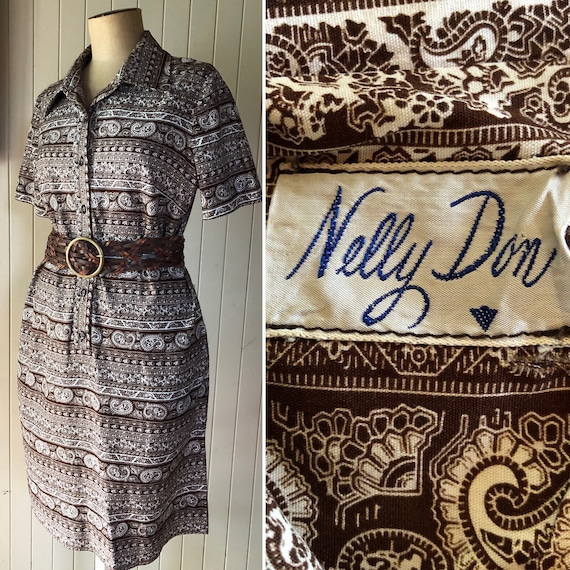 Vintage Paisley cotton dress.  Brown and white. Ne