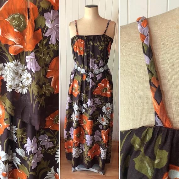 Vintage 1970s Floral sundress.  Capelet.  Sleevele
