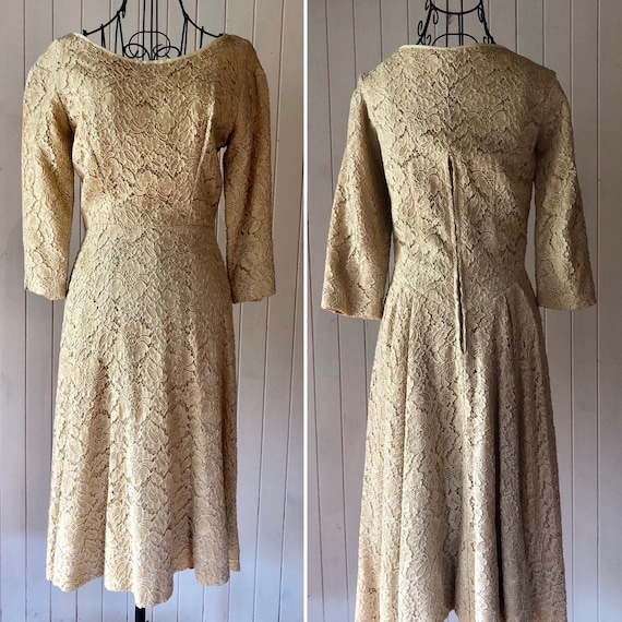 60s Cream lace dress with metal zipper - image 7