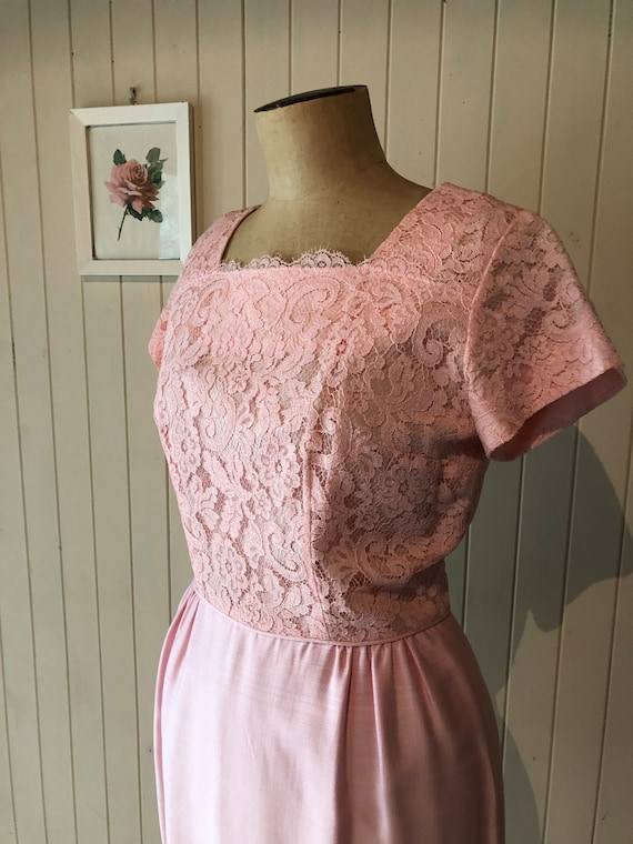 Pink lace dress, vintage evening dress, sixties. w