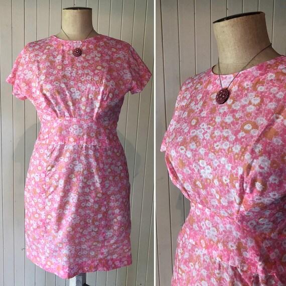 Vintage 1960s day dress, tea dress, pink and orang