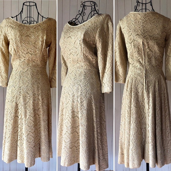 60s Cream lace dress with metal zipper - image 2