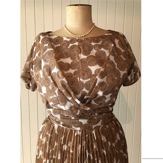 Vintage 50s dress, pleated, brown and white, women
