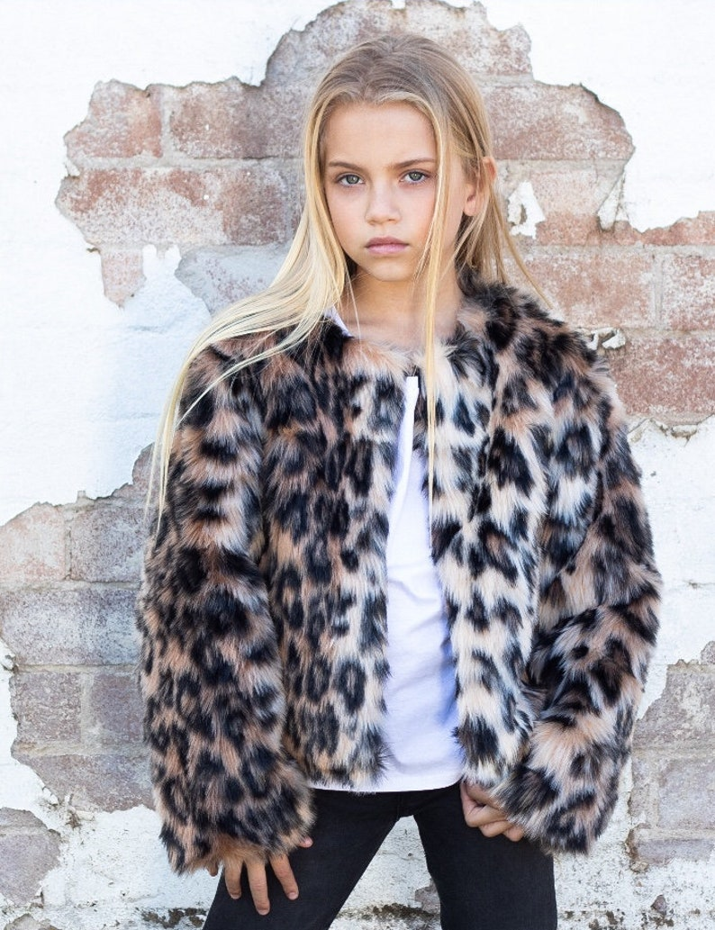 f619e4a94 Kids Leopard Print Faux Fur Jacket