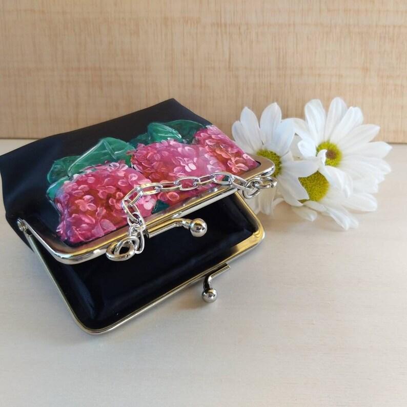 Hydrangeas purse Hand-painted purse.
